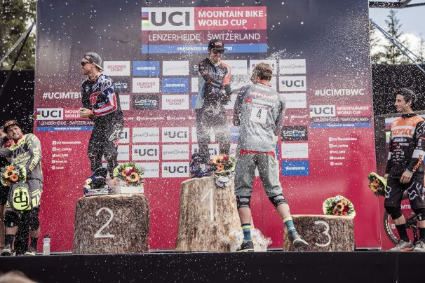 Remi Thirion, Aaron Gwin, Danny Hart, Greg Minnaar, Connor Fearon stand on the podium at the UCI DH World Tour in Lenzerheide on July 9th, 2016